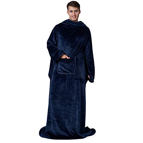 Eheyciga TV Blanket with Sleeves and Pocket, Soft Fleece Wearable Blanket for Adult, 170x200cm, Navy