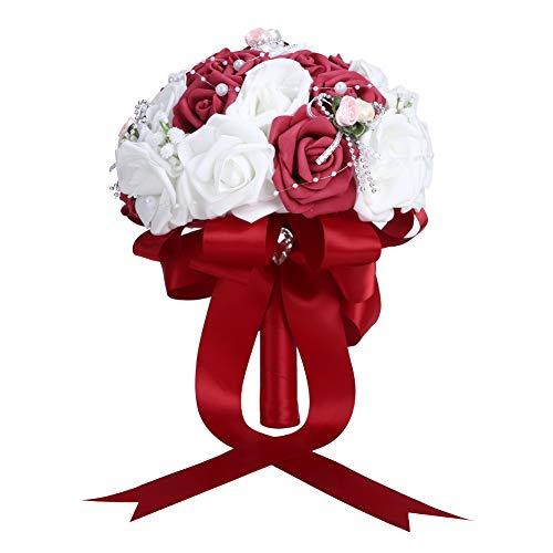 ffu Bouquet da Sposa Artificiale, Decorazione Bouquet da Sposa Artificiale, Forniture per Matrimoni Vino Rosso