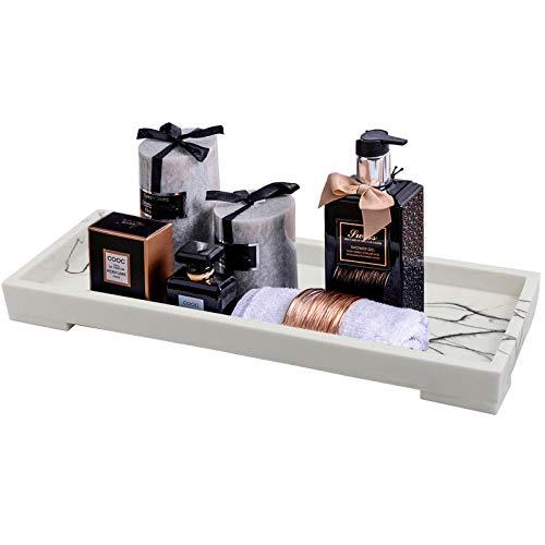 Jolitac Waschtisch-Tablett für Badezimmer, Kunstharz, Badewannentablett, Aufsatz-Tablett, Marmor-Muster, schwarze Tabletts, Kosmetik-Halter, Kosmetik-Organizer für Shampoo, Seife (weiß, klein)