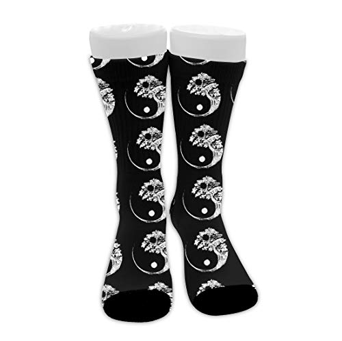 Men's Woman's Cushioned Crew Socks Quick Dry/Moisture Control Athletic Running Socks, Cotton Compression Socks for Outdoor Yoga Basketball, Yin Yang Bonsai Tree Black Socks