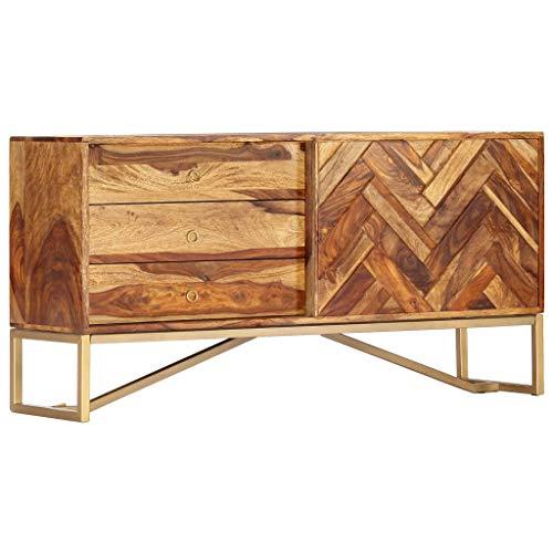 vidaXL Sheesham-Holz Massiv Sideboard mit 3 Schubladen 1 Tür Kommode Anrichte Schrank Beistellschrank Mehrzweckschrank Palisander 118x30x60cm