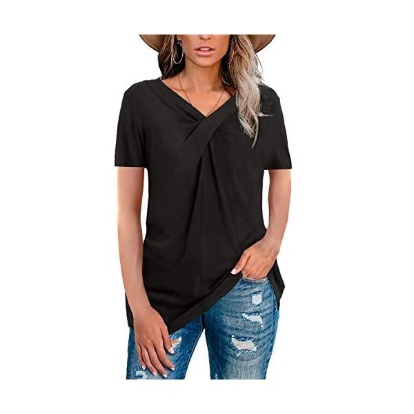 Yidarton Womens Short Sleeve V Neck T Shirts Tops Summer Casual Tunic Tops Blouse...