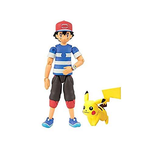 Zking 5Cm Anime Pokemones Trainer Ash Ketchum con Pika Pokemones Figura De Acción Muñecas Juguetes Anime Regalos para Niños