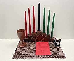 Image: African Heritage Collection Kwanzaa Pyramid Candleholder and Celebration Set | Handmade in Ghana
