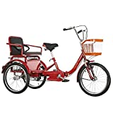 FGVDJ Foldable Tricycle 20 Inch Adjustable Trike 3 Wheel Bikes with Shopping Basket and Back Seat for Outdoor Sports Picnic Shopping