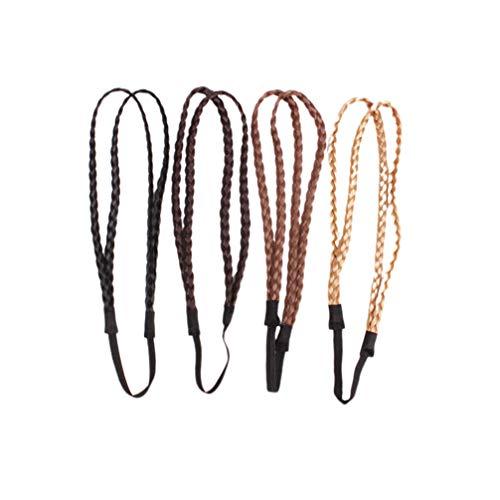Lurrose 4pcs elastische geflochtene Stirnbänder doppelt geflochtene verdrehte Haarbänder geflochtene Kopfwickel für Frauenmädchen