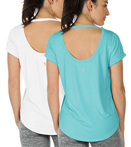 icyzone Yoga Shirts for Women Open Back - Workout Tops Short Sleeves t Shirts Loose fit (Pool Blue/White, L)