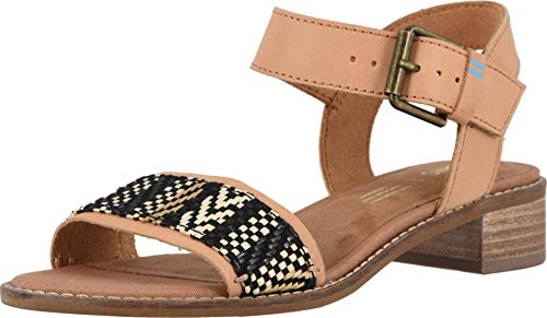 Sandália feminina TOMS Camilia com salto, Honey Leather/Geometirc Woven, 6