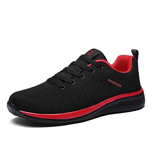 pangping Herren Laufschuhe Atmungsaktiv Männlich Bequem Mesh Schnürer Sport Schuhe Trend Leicht Flexibel Weich Outdoor Walking Sneakers, - schwarz / rot - Größe: 30 EU