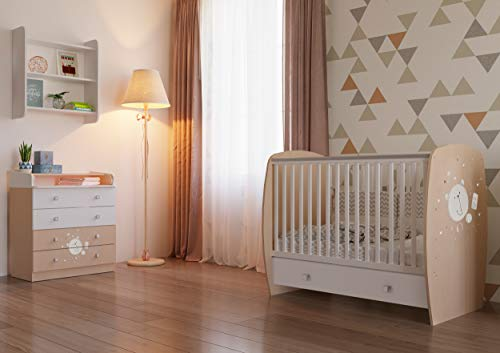 Polini Kids Kinderzimmer French Teddy weiß pastell Kinderbett mit Wickelkommode