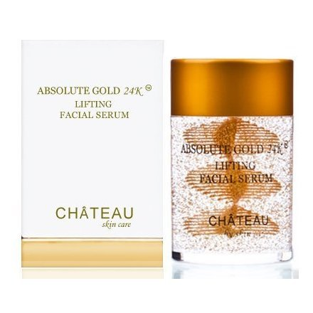 ABSOLUTE GOLD 24K Lifting Facial Serum - 24 Karat Gold, SILK PEPTIDES and HYALURONIC Acid. Excellent for all skin types. 2 fl.oz-60 ml (FRAGRANCE FREE, CRUELTY FREE, PARABEN FREE, PETROLEUM FREE).