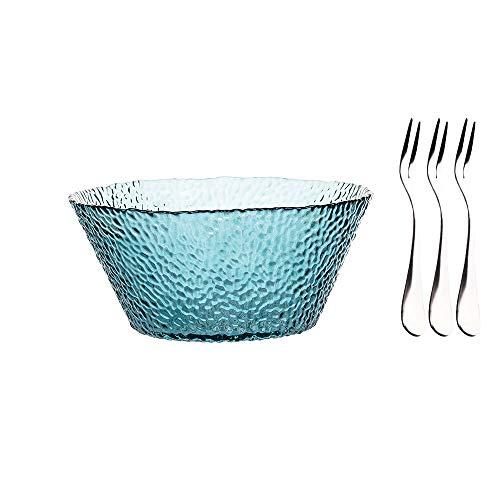 MDZF SWEET HOME Glass Salad Bowl Large Bowl for Serving Fruit-Salad, Dessert, Cereal and Soup with Three Dessert Fork 54 Oz, Blue