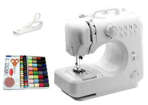 Michley-Tivax Lil' Sew & Sew LSS-505 Combo Mini Sewing Machine, Electrical Scissors and 100-Piece...
