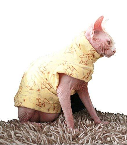 khemn Designer Gelb Bär Cat warme Kleidung Pullover mit dick fleece-best für haarlose Katze