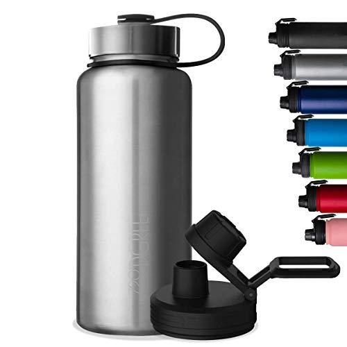 """720°DGREE Edelstahl Trinkflasche """"noLimit"""" – 530ml - Auslaufsicher, Kohlensäure geeignet, BPA-Frei - Isolierflasche mit Schraubverschluss für Kinder, Schule, Fitness +Gratis Sportdeckel"""