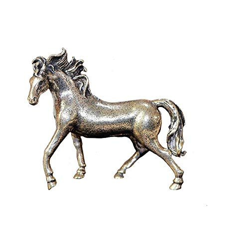 GIAO Pure Copper 12 Zodiac Solid Horse Feng Shui Ornaments Vintage Bronze Running Horses Statue Miniatures Figurines Desk Decorations