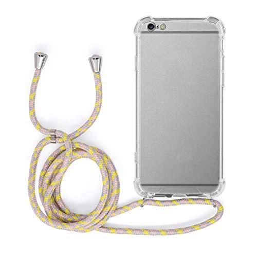 MyGadget Funda Transparente con Cordón para Apple iPhone 6 Plus / 6s Plus - Carcasa Cuerda y Esquinas Reforzadas en Silicona TPU - Case y Correa - Amarillo
