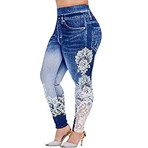 Aniywn Womens Lace Leggings Skinny Pencil Jeans Ankle Length Leggings Tights Yoga Slim Long Pants Blue
