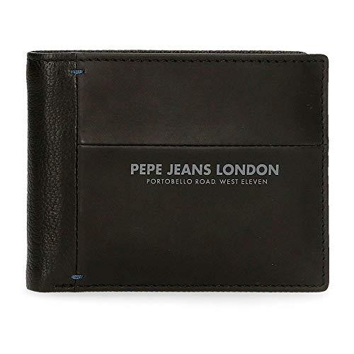Pepe Jeans Cutted Cartera con Tarjetero Negro 11x8,5x1 cms Piel