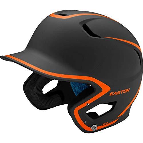 EASTON Z5 2.0 Batting Helmet | Baseball Softball | Junior | Matte Black / Orange | 2020 | Dual-Density Impact Absorption Foam | High Impact Resistant ABS Shell | Moisture Wicking BioDRI Liner