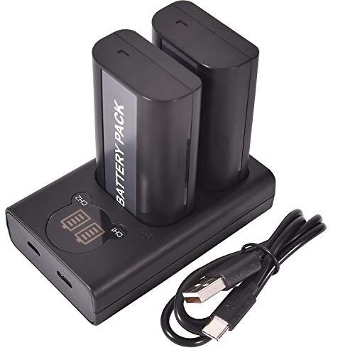 DSTE DMW-BLJ31 DMW-BLJ31e Batería Recargable (Paquete de 2) y Cargador USB Dual LED Inteligente compatibles con Panasonic Lumix S1, Lumix S1R, Lumix S1H, DMW-BGS1R