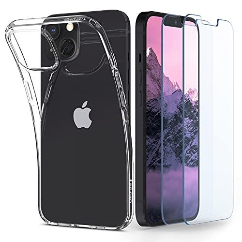Spigen Funda Crystal Pack Compatible con iPhone 13 Mini, Carcasa 2 Piezas Cristal Templado Protector de Pantalla - Trasparente
