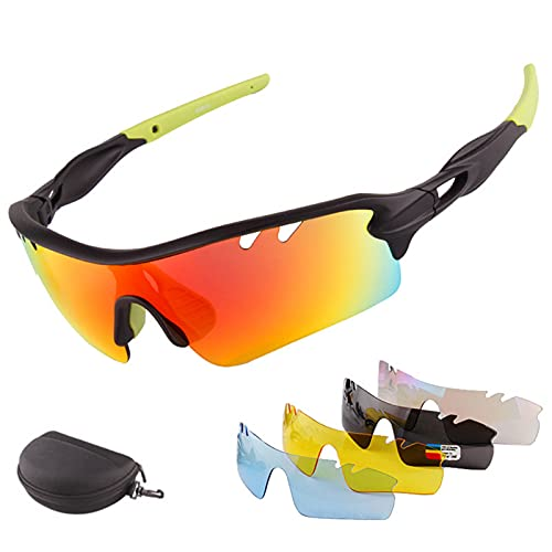 HVW Gafas De Sol Deportivas, Gafas De Sol De Ciclismo, Gafas De Ciclismo Polarizadas con 5 Lentes Diferentes De Protección UV para Hombres Y Mujeres, Conducción, Ciclismo, Pesca, Deporte,Verde