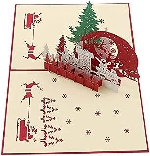 PLDMZHK Tarjeta de felicitación 3D Pop Up Tarjetas de felicitación Navidad Halloween Vacaciones Postal Navidad Regalo DIY