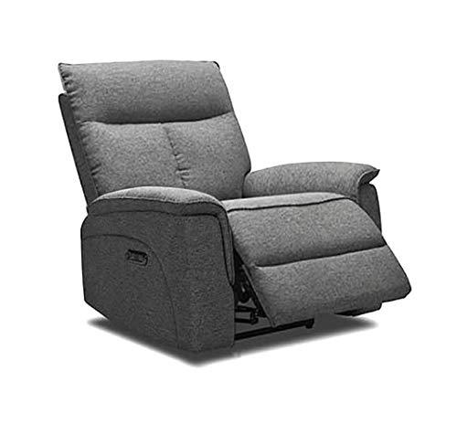 Meubletmoi Lydia - Sillón relaxación de tela gris jaspeado