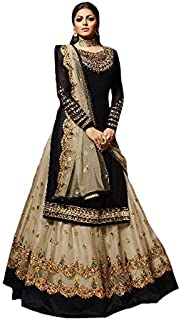 Women's Satin Georgette Fabric Embroidered and Diamond Work Sharara Suit (Black, 46)