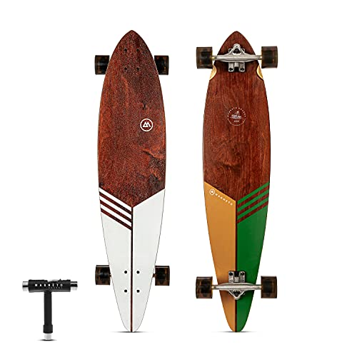 Magneto Pintail Longboard Skateboard Collection | Top Mount | Dark Stained Hard Maple Core | Cruiser, Carver, Freestyle | Great for Teens Adults Men Women | Free Skate Tool (Classic)