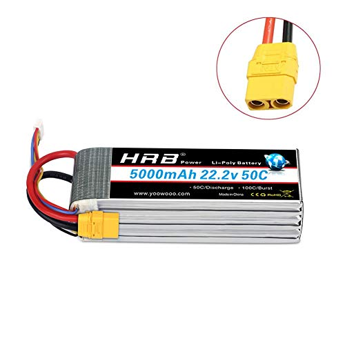 HRB 5000mAh 50C 6S 22.2v RC Lipo Battery XT90 Plug for DJI Align T-REX550 600 Airplane RC Quadcopter Helicopter Car Truck