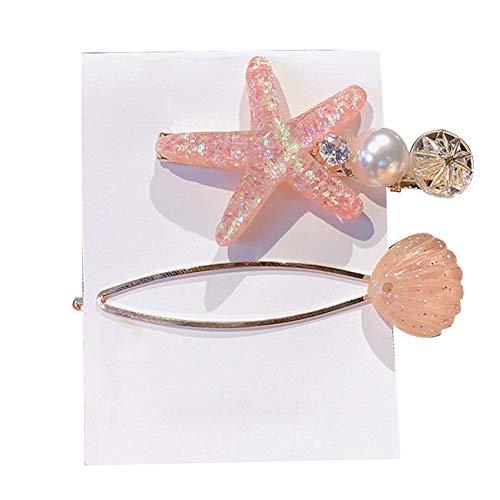 fublousRR5 Hairpin, 2Pcs/Set Starfish Shell Faux Pearl Inlaid Hairpin Women Side Bangs Hair Clip Orange