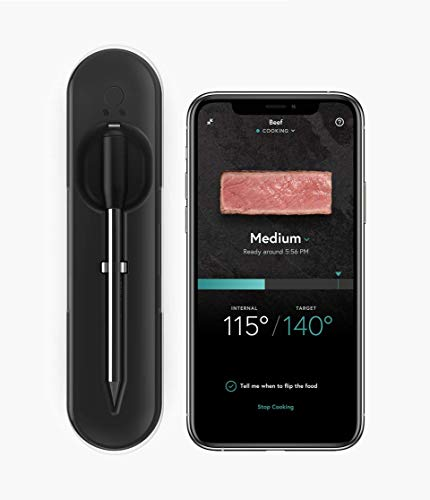 Yummly by KitchenAid YTE000W5KB Premium Wireless Smart Meat Thermometer with Long Range Bluetooth Connectivity and Assisted Cooking, 1, Black