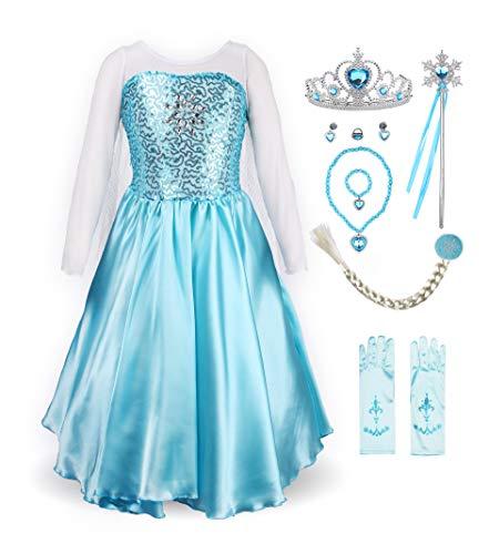 ReliBeauty Fantasia de Princesa Fofa para Meninas, Sky Blue(with Accessories), 5(Asian 120)