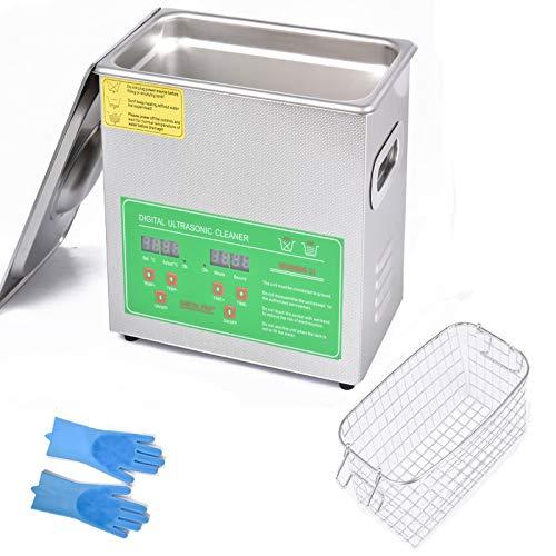 Ankishi Ultraschallreiniger, Ultraschallreinigungsgerät Brille, Digitale Timer-Reiniger Ultraschallreiniger für Uhren Schmuck Zahnprothesen Ketten Injektor Halskette Rasierer Gläser Rasierer (3L)