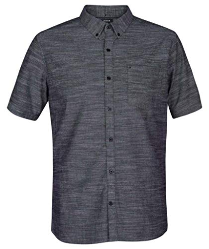 Hurley Men's One & Only Textured Short Sleeve Button Up, Black, S