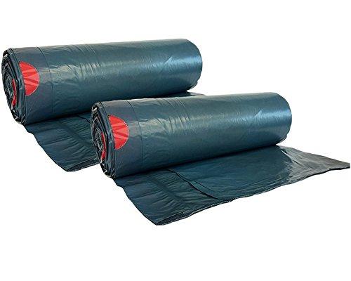 hocz 120 Liter Müllsack | 50 Stück | reißfest | mit Zugband | 25er Rolle | 2 Rollen | Typ 925 | Abfall-Säcke XXL Abfallbeutel Müllsäcke | Wandstärke 40 μ | LDPE |dunkelblau