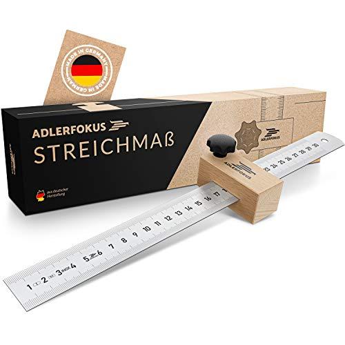 Adlerfokus® Streichmaß [EG-1] Made in Germany Anschlaglineal – Anreisswerkzeug mit extra stabilem INOX Lineal – Streichmaß Metall mit Anschlag aus Buchenholz
