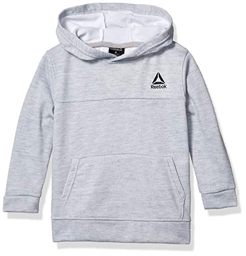 Reebok Boys' Little Active Hoodie, Classic Pullover White Heather Grey, 7