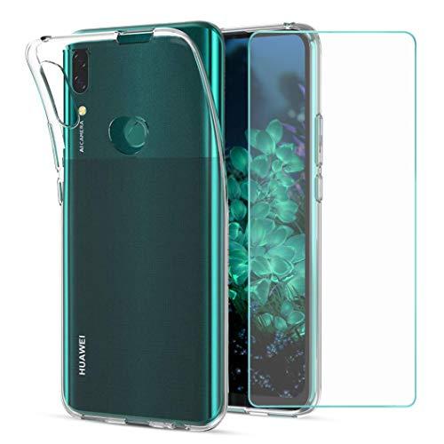 Wanxideng - Cover Huawei P Smart Z + Pellicola Protettiva in Vetro Temperato, Custodia Morbida Trasparente Sottile in Silicone TPU - Transparent
