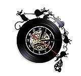 Precioso Juego de ratón y Queso Arte de Pared Vinilo Reloj de Pared Registro Reloj de Pared Regalo del ratón habitación de los niños Reloj Decorativo