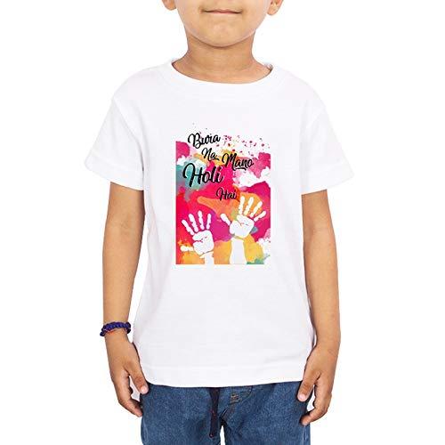 LIMIT - Bura Na Mano Holi Hai Printed Kids T-Shirt Regular Fit Stylish Printed Poly Cotton Tshirt for Boys & Girls Kids Casual Wear(13-14 Years) White