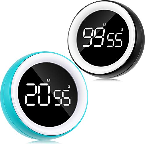 2 Pieces Digital Kitchen Timer LED Digital Countdown Timer Loud Alarm with Dual Volume 99 Minute 55 Second Visual Analog Timer for Cooking Fitness Meeting, Kids Timer for Homework Game