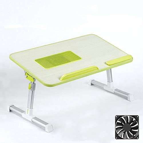 JIAX opklapbare werkbank, laptop bureau hoogte en engel verstelbare laptop bed tafel, opvouwbare student laptop tafel met Ventilator, 52x30x24-32 cm