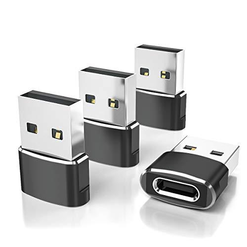 Adaptador USB C Hembra a USB Macho 4-Pack,Adaptador de Cable de Cargador Tipo C a USB A Para iPhone 11 12 Mini Pro Max, Airpods iPad Air M1, Samsung Galaxy Note S20 S21 Plus 20 21 Ultra A90 13 A71 A52