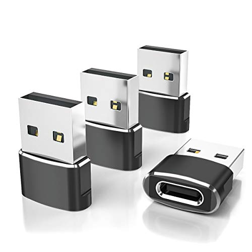 USB C Female to USB Male Adapter 4-Pack,Type A Port Charger Cable Connector for iPhone 11 12 Pro Max Mini,XR SE,Airpods iPad 8 Air 4,Samsung Galaxy Note 10 20 S20 Plus S21 21 Ultra,A71,Google Pixel 5