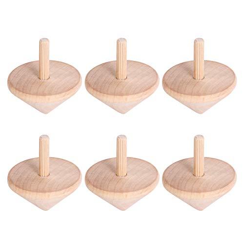 TOYANDONA 6Pcs Leere Hölzerne Kreisel Spielzeug Holz Spin up Spielzeug für Partybevorzugungen