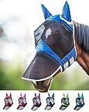 Harrison Howard CareMaster PRO Luminous Maschera Anti-Mosche per Cavallo UV Protezione Pieno Volto Blu Navy (L; Full Size)