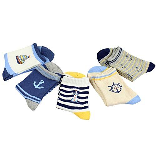 De feuilles CHIC-CHIC 5 Paires Chaussettes Enfants Garçon Coton Sport Motif Rayures Voiture Type A 3-5 ans